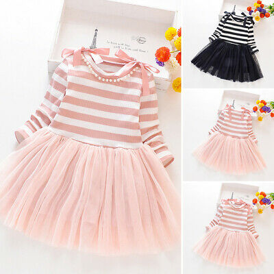 Fashion Cute Kids Girls Dress Striped Tulle Skirt Long Sleeve Party Casual Dress