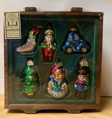Thomas Pacconi 2002 CLASSICS Series Glass Blown Christmas Ornaments Wood Crate