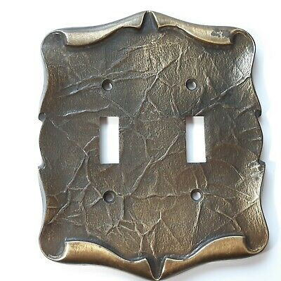 Vintage Amerock Bronze Carriage House Metal Vintage Dual Switch Plate