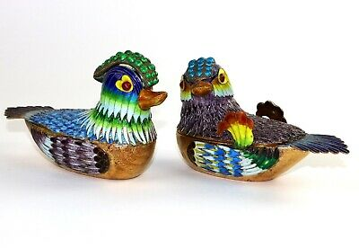 Pair of antique Chinese export silver multi-color enamel boxes ducks design
