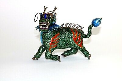 Antique/vintage Chinese export silver multi-color enamel dragon figurine
