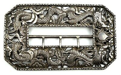 Rare Antique Chinese Silver Export Buckle Dragons
