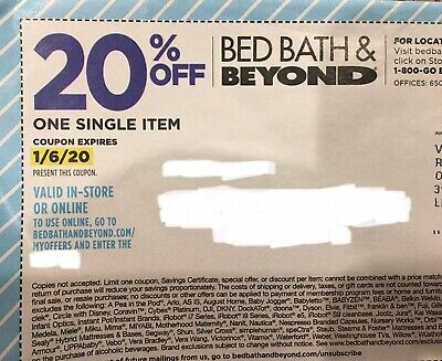 Bed Bath & Beyond Coupon $20 OFF One Single Item Purchase - Online EXP 1/6/20