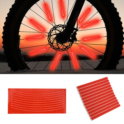 Bicycle Wheel Spoke Reflector Reflective Mount Clip Tube Warning Strip 12pcFBTE