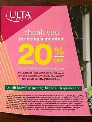 Ulta Beauty Coupon-20% Off Entire Purchase In store Or Online