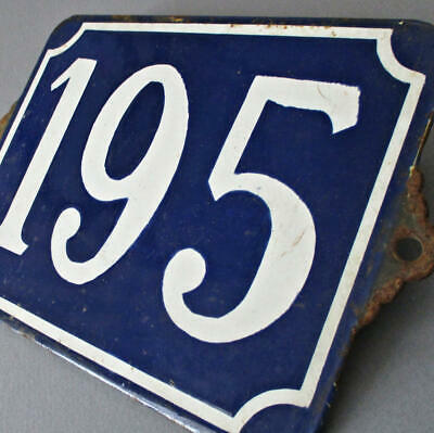 "Antique FRENCH Enamel BLUE + WHITE Sign Plaque ""195"" Street VILLA House Number"