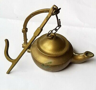 Antique Brass Whale Oil Betty Lamp, 19th century early primitive lighting #Z72