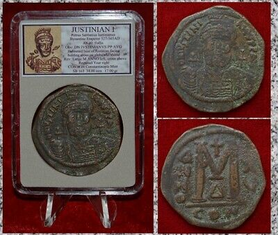 Ancient Byzantine Empire Coin JUSTINIAN I Very Large Bronze Follis