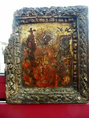Greek icon of St Catherine ??17th Century Russian Saint Old Antique Religious