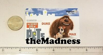 New Unused Walmart Secret Life of Pets Gift Card No Value Duke Max