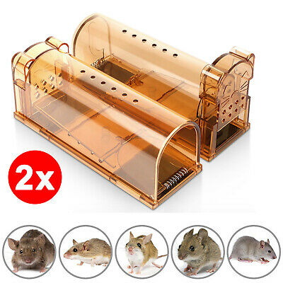 2x Humane Mouse Trap Catch Cage Reusable Stop/Control Small Rodent Mice Catcher
