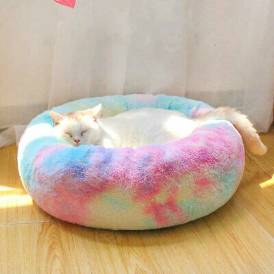 Comfy Calming Dog Cat Bed Round Nest Warm Soft Plush Pet Bed Marshmallow Cat Bed