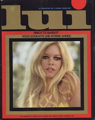 French Lui Men's Magazine January 1969 with Brigitte Bardot cover and content