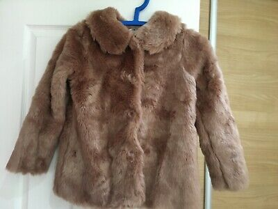 Girls pink faux fur coat - NEXT - Size 10 - USED - - excellent condition