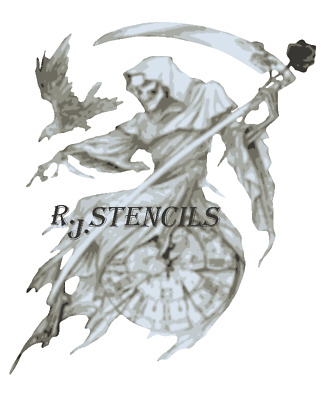 Multilayer STEP BY STEP airbrush stencil REAPER TIME