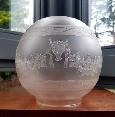 "Antique Sacred Cow Bull Acid Etched Oil Lamp Globe Ball Shade Tulip Duplex 4"" A1"