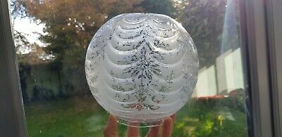 Original Victorian Ribbed Glass Acid Etched Oil Lamp Shade Flowers Duplex 4 inch