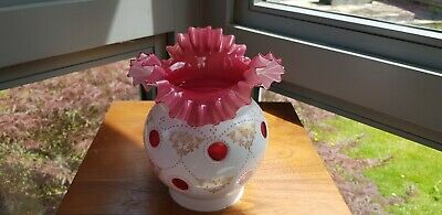 "Bohemian Baccarat Cut Glass Cranberry Overlay Cased Oil Lamp Shade 4"" inch"