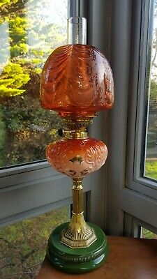 Original Victorian Arsenic Orange Etched glass shade Oil Lamp Font Burner Duplex