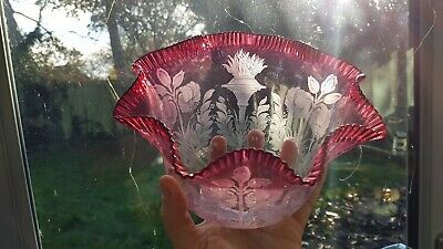 Original Victorian Etched Cranberry glass gas oil lamp uplighter shade Top Rim A