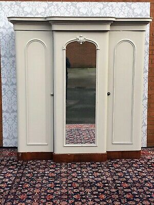 outstanding quailty victorian triple door wardrobe mahogany hand painted