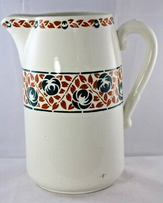 Antique French 19th Century Large Ceramic /Stoneware Water Jug Pitcher St Amand