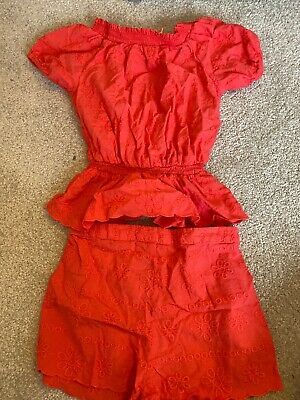 River Island Playsuit Set Red Coral Colour Girls Age3-4 Uk