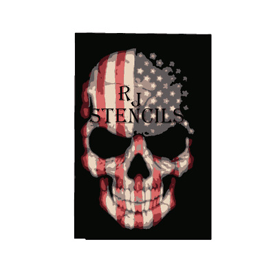 Multilayer step by step airbrush stencil AMERICAN  skull