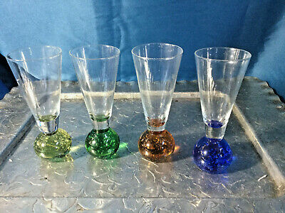 Set of 4 Ball Stem amber Green Blue Shooters Shot Glasses trapped air bubble EXC