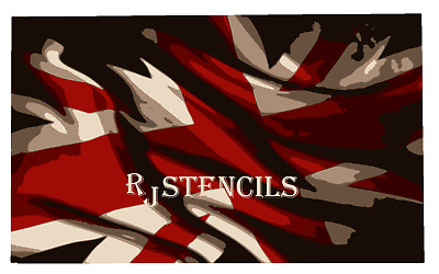 Multilayer STEP BY STEP airbrush stencil UNION JACK FLAG