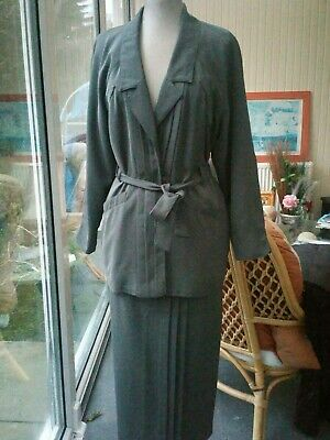 Wallis Exclusive Vintage Ladies Suit Grey Size 10