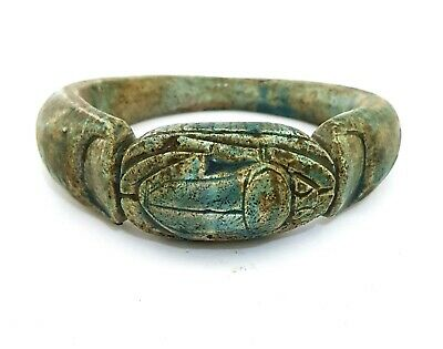 Scarab Beetle Bracelet Bangle Khepri Figurine Antique Pendant Blue Stone Faience