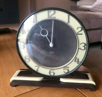 Art Deco Smiths Sectric Electric Mantel Clock In Brown & Ivory Bakelite