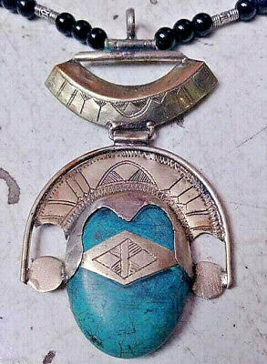Roman Vintage Extremely Rare Medieval Silver Necklace Amulet Pendant Turquoise