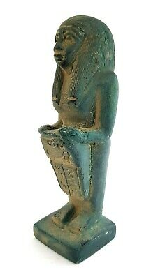 Egypt Seated Scribe Squatting Sculpture Eye Of Horus Egyptian Antique Craft RARE