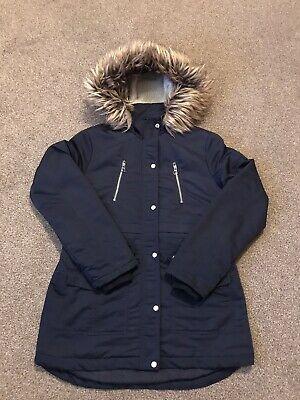 Girls New Look Hooded Coat Navy Blue Age 14-15 Years