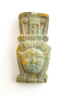 Isis Hathor Figurine Egyptian Bust Antique Faience Fabulous Rare Sculpture Stone
