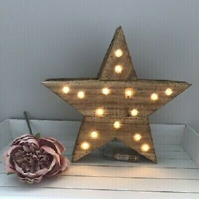 White LED star hanging decoration with silver beads 30.5cm-NEW