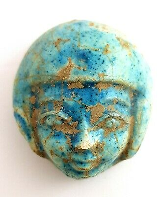 Blue Egyptian Faience Bust Egyptian Antique Statue Ancient Pharaoh Figurine RARE