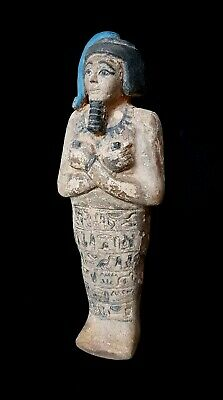 Ushabti Sculpture Egyptian Antique Shawabti W/T Hieroglyphics & Hair Statuette