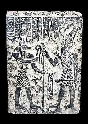 Anubis & Osiris Relief Wall Art Rare Egyptian Antique Pharaoh Statue Rare Plaque