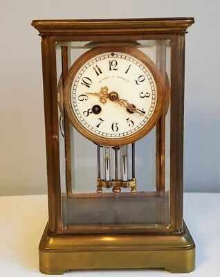 A1 Antique French 8 Day Time & Striking Crystal Regulator Beveled Glass Clock