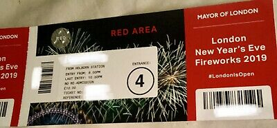 4 x London New Years Eve Fireworks (Red Area) Tickets 2019 Great View