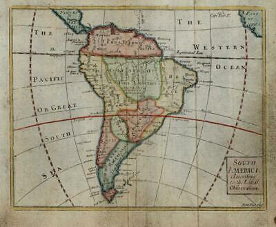 South American continent 1730 Gordon engraved miniature map w/ lovely hand color