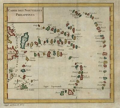 Pacific Islands New Philippines Mindanao 1761 engraved map hand color