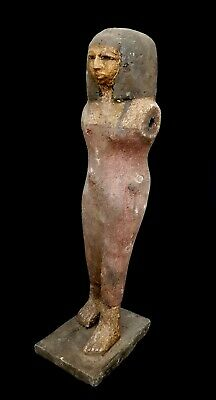Ancient Civilization Pharaoh Egyptian Statuette Woman Bc Antique Rare Bead Mummy