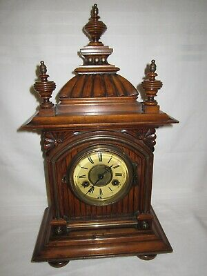 Victorian Junghans large ornate wood cased mantle clock - chimes & ticks