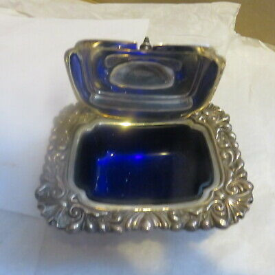 The Sheffield Silver Co Condiment Dish / Master Salt with Cobalt Insert