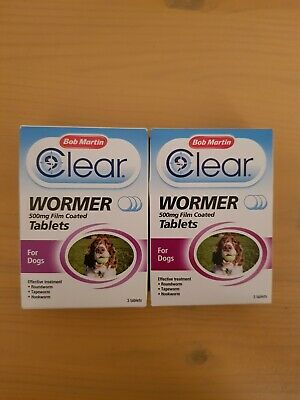 Bob Martin clear wormer 500mg film coated 3 tablets for dogs x 2 pack