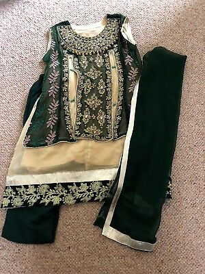 Girls Green And Gold Asian Outfit Age 3-4 Years/size 20